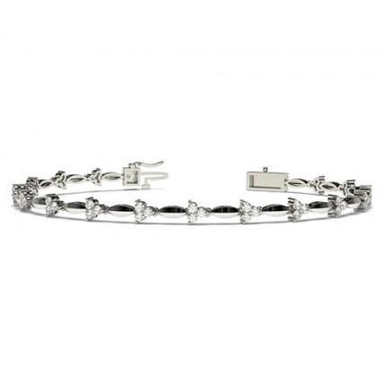 2 Prong Setting Round Diamond Designer Bracelet