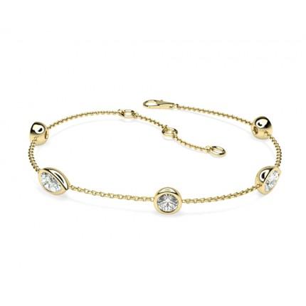 0.90ct. Full Bezel Setting Round & Pear Diamond Delicate Bracelet