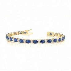 4 Prong Setting Oval Blue Sapphire Tennis Bracelet