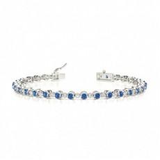 2 Prong Setting Round Blue Sapphire Tennis Bracelet