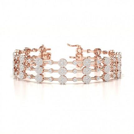 Semi Bezel Setting Round Diamond Designer Bracelet
