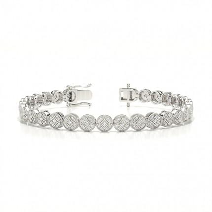 Shared Prong Setting Round Diamond Evening Bracelet
