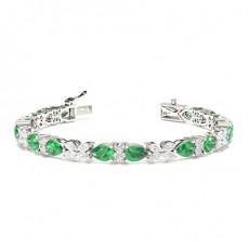 Prong Setting Emerald Designer Bracelet