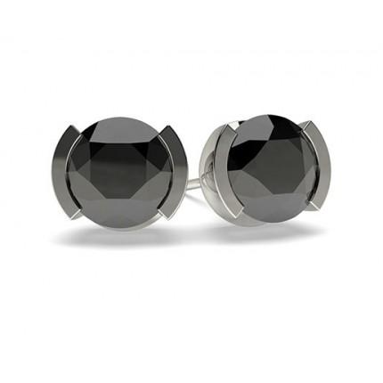 White Gold Round Black Diamond Earrings