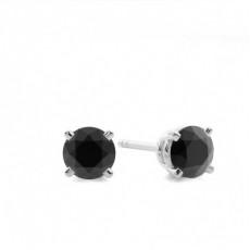 Round Black Diamond Earrings