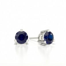 Round Stud Blue Sapphire Earring