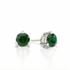 Round Stud Emerald Earring