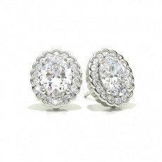 Oval Halo Earrings