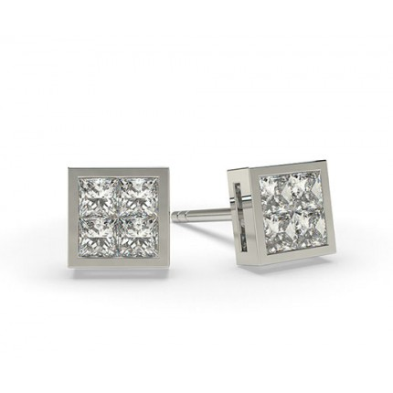 White Gold Princess Diamond Cluster Earrings