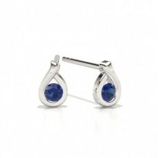 Round Stud Blue Sapphire Earrings