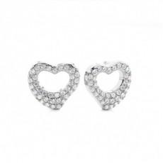 White Gold Round Diamond Cluster Earrings