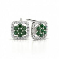 Round Stud Emerald Cluster Earrings