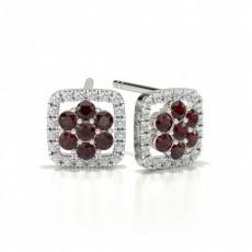 Round Stud Ruby Cluster Earrings