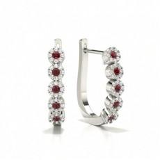 Ruby stone Round Diamond Hoop Earring