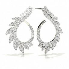 Prong Setting Round Diamond Designer Earrings