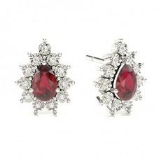 Pear Gemstone Diamond Earrings