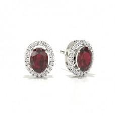 Oval Gemstone Diamond Earrings