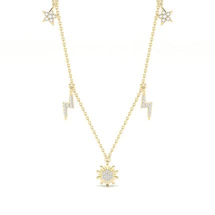 Plate Prong Setting Round Diamond Designer Necklace