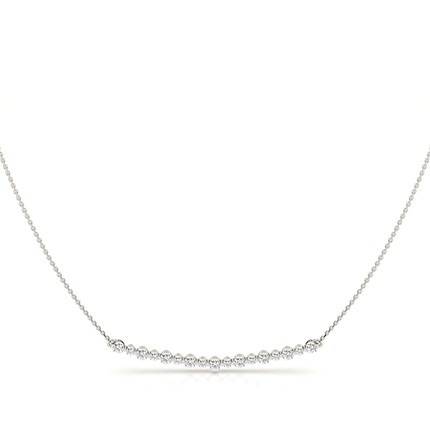 Shared Prong Setting Round Diamond Delicate Necklace