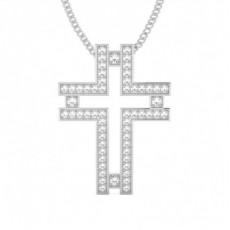 Round Cross Diamond Pendants