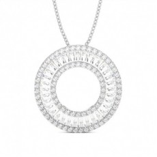 Pave Setting Round and Baguette Diamond Circle Pendant