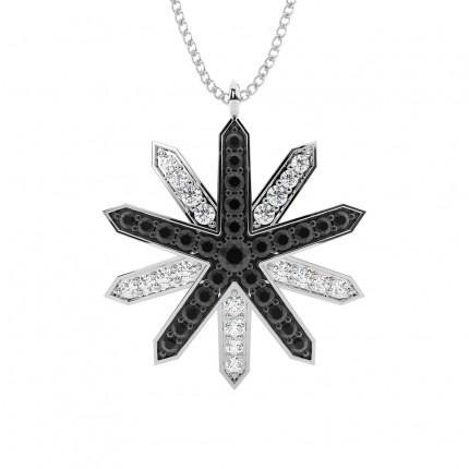 Pave Setting Round Black Diamond Designer Pendant