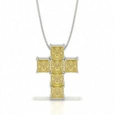 Yellow Diamond Cross Pendant