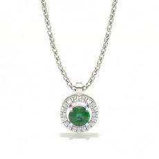 Round Halo Necklaces