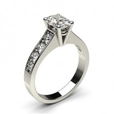 Oval Side Stone Engagement Rings