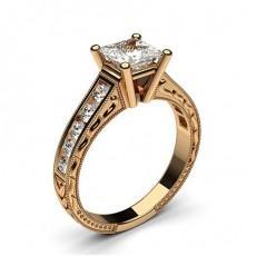 Rose Gold Princess Vintage Diamond Engagement Ring