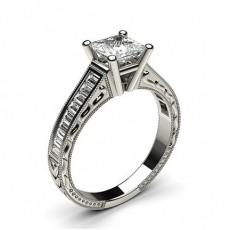 Princess Side Stone Diamond Rings