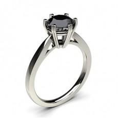 6 Prong Setting Thin Engagement Black Diamond Ring