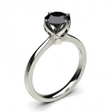 4 Prong Setting Thin Engagement Black Diamond Ring
