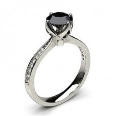 4 Prong Setting Medium Side Stone Engagement Black Diamond Ring