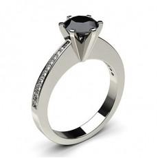 6 Prong Setting Medium Side Stone Engagement Black Diamond Ring