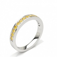 Half Eternity Band with Yellow Diamond