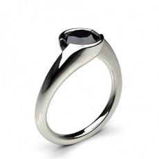Semi Bezel Setting Plain Engagement Black Diamond Ring