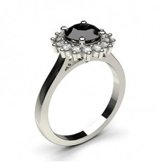 4 Prong Setting Side Stone Halo Black Diamond Ring