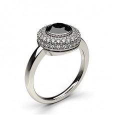 Full Bezel Setting Plain Halo Black Diamond Ring