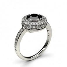 Full Bezel Setting Side Stone Halo Black Diamond Ring