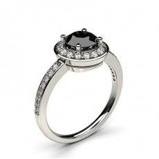 4 Prong Setting Plain Halo Black Diamond Ring