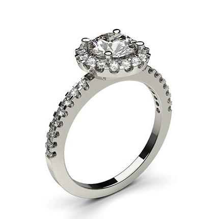 Rose Gold Round Halo Diamond Engagement Ring