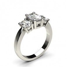 Oval 3 Stone Diamond Rings