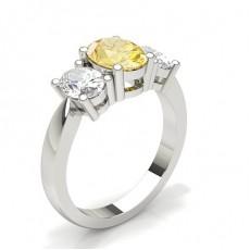 3 Stone Yellow Diamond Engagement Ring