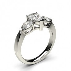 Pear 3 Stone Diamond Rings