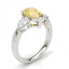 3 Prong Yellow Diamond Trilogy Engagement Ring