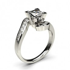 Side Stone Princess Engagement Rings