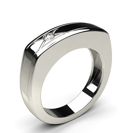 0.10ct. Full Bezel Setting Mens Ring