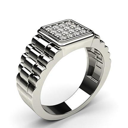 Prong Setting Round Diamond Mens Ring