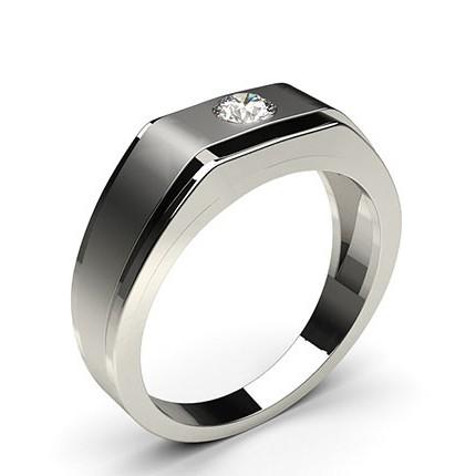 Flush Setting Round Diamond Mens Ring